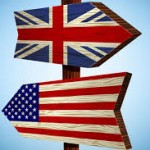 US and UK flags as directional signs